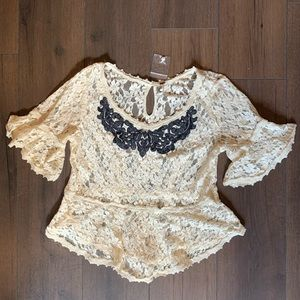 Free People Cream Lace Black Appliqué Top